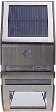 TOOGOO(R)solarbetriebene Laterne lampe mit 2pcs SMD LEDs Polykristalline Solarkollektor PIR Sensor wiederaufladbar Wasserdicht Umweltfreundliche LED-Leuchtmittel fuer Pfad Outdoor Treppe Step Garten Yard -Silber
