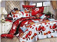 TOOGOO(R) Weihnachten Heimtextilien Baumwolle Bettwaesche hochwertige 4 Stueck Bettwaesche Set (Farbe: rot)