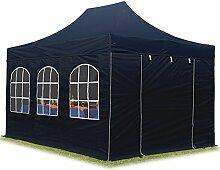 TOOLPORT Faltpavillon Pavillon 3x4,5 m mit Fenstern edles Polyester Wasserdicht PROFIZELT24 Partyzelt schwarz
