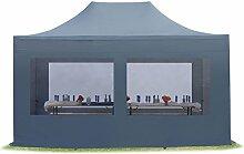 TOOLPORT Faltpavillon Pavillon 3x4,5 m mit Panoramafenstern edles Polyester Wasserdicht PROFIZELT24 Partyzelt dunkelgrau
