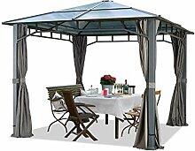 TOOLPORT Gartenpavillon 3x3 m wasserdicht ALU