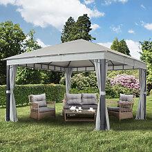 TOOLPORT Gartenpavillon Sunset Premium, stone, 4x4m