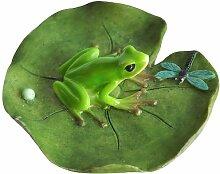 Top Collection Miniatur-Fairy Garden und Terrarium Frosch und Libelle auf Lotus Blatt Statue