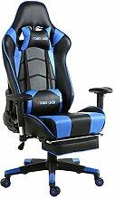 Top Gamer Gaming Stuhl PC Racing Gaming Sessel Bürostuhl Schreibtischstuhl mit Gepolsterte Fußstütze(Schwarz und Blau)