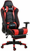 Top Gamer Gaming Stuhl PC Racing Gaming Sessel Bürostuhl Schreibtischstuhl mit Gepolsterte Fußstütze(Ror/Schwarz)