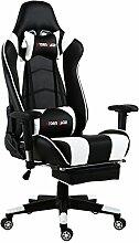 Top Gamer Gaming Stuhl PC Racing Gaming Sessel Bürostuhl Schreibtischstuhl mit Gepolsterte Fußstütze(Schwarz und Weiß)