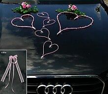 TOP HERZE Auto Schmuck Braut Paar Rose Deko
