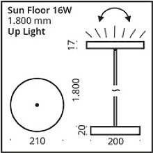 Top Light SUN FLOOR LED-Stehleuchte 180cm