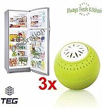 TOP & MARKE - 3er Pack - GERUCHSNEUTRALISIERER - KEINE CHEMIE - NATÜRLICHER GERUCHSKILLER - Geruchsverbesserer - Kühlschrank Geruchsentferner mit AKTIVKOHLE