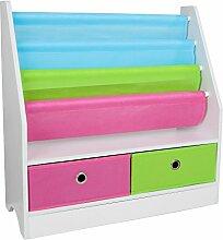 TOP-MAX Kinderregale Bücherregal Spielzeugregal mit 2 Spielzeugkiste für Kinderzimmer Wohnzimmer Badezimmer