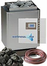 Top Saunaset EOS 34A Sauna Ofen 6 kW - Deutsche Qualität inkl. EOS ECON Aussensteuerung 45A1 Saunasteine und Silikonkabel 5 adrig (auch gleicher Ofen mit Zeitvorwahl Steuerung EOS 45A2 und Steine in Wellness4me Shop)