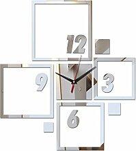 Top Verkauf acryl Spiegel Aufkleber diy Wanduhr Home Dekoration Uhren moderne Wohnzimmermöbel square Aufkleber, Silber