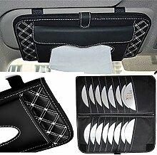 Top819 Trade CD-Tasche, multifunktional, zur Befestigung am Sonnenschutz im Auto, mit Taschentuch-Tasche, für 16CDs/DVDs, Aufbewahrungstasche