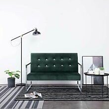 Topdeal 2-Sitzer-Sofa mit Armlehnen Dunkelgrün
