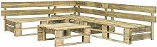 Topdeal 4-tlg. Garten-Sofagarnitur aus Paletten