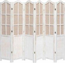 Topdeal 6-teiliger Raumteiler Weiß 210 x 165 cm