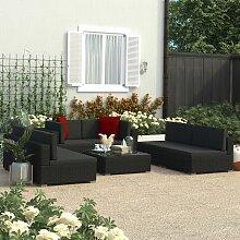 Topdeal 7-tlg. Garten-Lounge-Set Schwarz mit