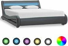 Topdeal Bettgestell mit LED Grau Kunstleder