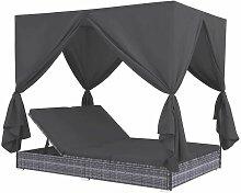 Topdeal Outdoor-Lounge-Bett mit Vorhängen Poly