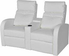 Topdeal Relaxsessel 2-Sitzer Kunstleder Weiß 09003