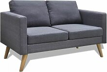 Topdeal Sofa 2-Sitzer Stoff Dunkelgrau 09145