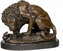 Toperkin Small Size Famous Animal Statue Lion Snake Home Deko Bronze Sculpture TPY-554