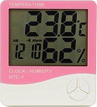 TopEUR LCD Temperatur digitales Thermo-Hygrometer Feuchtigkeitsmesser Pink Elektronische Hygrometer Thermometer Messen mit Alarm Wecker für Haus Küche Gewächshaus