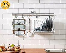 Topf & Pan Rack Besteck Rack Aluminium Stahl Küche Regal Wand
