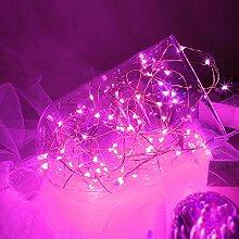 Topfashion+ 3 m lange Lichterkette mit 30Mini-Micro-LEDs, in verschiedenen Farben, Sternenlicht, Untertauchen möglich, Kupferkabel mit LED-Lichtern, betrieben mit AA-Batterien, extra dünnes Kabel, plastik, rose, 2 Sets Pink