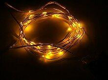 Topfashion+ 3 m lange Lichterkette mit 30Mini-Micro-LEDs, in verschiedenen Farben, Sternenlicht, Untertauchen möglich, Kupferkabel mit LED-Lichtern, betrieben mit AA-Batterien, extra dünnes Kabel, plastik, gelb, 1 Set Yellow