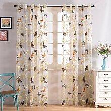 Topfinel Gardinen mit Schmetterlingsmuster Vorhang