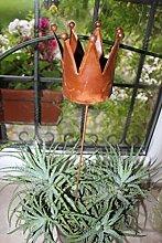 Topfstecker Krone am Stab, aus Metall, H 48 cm, Teelichthalter