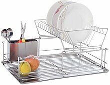 Topgoods Edelstahl Geschirrabtropfständer Spülkorb mit Abtropfschale und Besteckkorb Geschirrständer mit 2 Etagen 47x32x22cm (02)