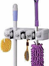 Topgoods2016 Tidy Organiser - Gerätehalter Wandhalter Ordnungsleiste mit 4 Haken und 3 Schnellspannern für Besen, Mopp,Reinigungskugel und Gartenwerkzeuge