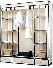 TopHomer Stoffschrank Kleiderschrank Schlafzimmer Faltschrank Kleiderstange Veranstalter mit 3 Leinen Boxes Beige 150x45x175cm