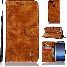Tophung Honor 9Lite Case, Premium Retro PU Leder Flip Notebook Wallet Case mit Ständer Kreditkarte ID Slot Halterung Magnetverschluss schutztasche Slim Haut Cover für Honor 9Lite gelb