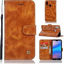 Tophung Huawei P20Lite Case Notebook mit Retro PU Leder Flip Wallet Case mit Ständer, Kreditkarten-Slot Slim mit Magnetverschluss Schutzhülle Hülle für Huawei P20Lite gelb