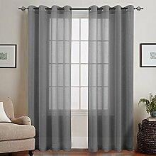TOPICK Grau Lange Gardinen Vorhang für Wohnzimmer