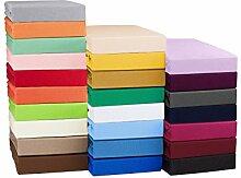 Topper Spannbettlaken Bettlaken 140x200 - 160x200 cm / Spannbetttuch Spannleintuch aus Jersey Baumwolle in sand / cappuccino für Boxspringbetten