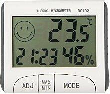 TopSun LCD Raumthermometer Mini LCD Digital Indoor Thermometer Hygrometer Temperatur Feuchtigkeitsmesser Uhr Schreibtisch Wetterstation mit Magnetstand
