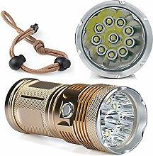TopTen Fan-Motive LED Taktische Taschenlampe, 10000Lumen 10x T65Modi Super Hell Wasserdicht-Camping Licht für Angeln Jagd Wandern und Outdoor Aktivitäten
