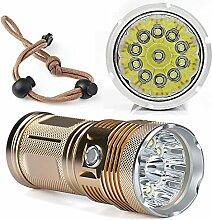 TopTen Fan-Motive LED Taktische Taschenlampe, 11000Lumen 11x T65Modi Super Hell Wasserdicht-Camping Licht für Angeln Jagd Wandern und Outdoor Aktivitäten