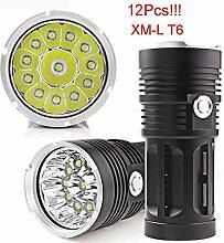 TopTen Fan-Motive LED Taktische Taschenlampe, 12000Lumen 12x T65Modi Super Hell Wasserdicht-Camping Licht für Angeln Jagd Wandern und Outdoor Aktivitäten