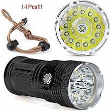TopTen Fan-Motive LED Taktische Taschenlampe, 14000Lumen 14x T65Modi Super Hell Wasserdicht-Camping Licht für Angeln Jagd Wandern und Outdoor Aktivitäten