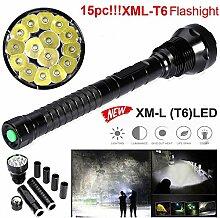 TopTen Fan-Motive LED Taktische Taschenlampe, 15000Lumen 15x T65Modi Super Hell Wasserdicht-Camping Licht für Angeln Jagd Wandern und Outdoor Aktivitäten