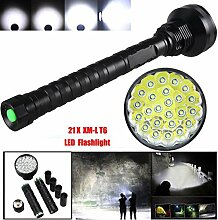 TopTen Fan-Motive LED Taktische Taschenlampe, 24000Lumen 24x T65Modi Super Hell Wasserdicht-Camping Licht für Angeln Jagd Wandern und Outdoor Aktivitäten