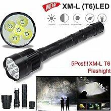 TopTen Fan-Motive LED Taktische Taschenlampe, 5000Lumen 5x T65Modi Super Hell Wasserdicht-Camping Licht für Angeln Jagd Wandern und Outdoor Aktivitäten