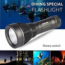 TopTen Fan-Motive Tauchen Taschenlampe, 1200Lumen 6Modi wasserdicht-Camping Licht Unterwasser 500m für Angeln Jagd Wandern und Outdoor Aktivitäten