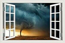 """Tornado Auf der Sea Lightening 3D Wandtattoo Home Decor Raum Vinyl Tapete, W0455, 28""""""""X40"""