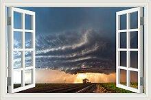 """Tornado Auf der Sea Lightening 3D Wandtattoo Home Decor Raum Vinyl Tapete, W0456, 28""""""""X40"""